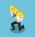 isometric businessman carrying gdp words on his vector image