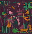 jungle wildlife animals seamless pattern vector image vector image