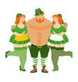 leprechaun and beautiful girls kiss me im irish vector image vector image