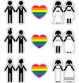 Lesbian brides and gay grooms icon 1 set vector image vector image