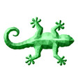 low poly art with green gecko silhouette vector image