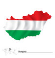 Map of Hungary with flag vector image vector image
