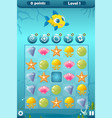match three game interface for underwater world vector image vector image
