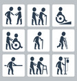 medical care elder and disabled people icon set vector image