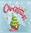 merry christmas with gift vector image vector image