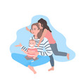 mother sitting with daughter and little son happy vector image