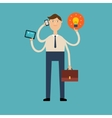 multi-armed businessman with a phone tablet vector image