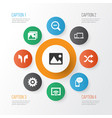 multimedia icons set with shuffle setting gadget vector image vector image