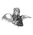 pilot in plane engraving vector image