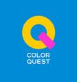 q letter flat emblem kids store vector image vector image