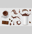 realistic coffee set drink splashes coffee beans vector image vector image