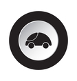 round black white button - cute rounded car icon vector image vector image