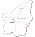 San marino black white map with major cities vector | Price: 1 Credit (USD $1)