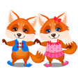 set happy animated foxes isolated on a white vector image