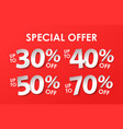 set of discount with percents in paper style vector image vector image
