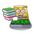 student with book cartoon cash register with a vector image