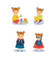 superhero girl reading playing going to school vector image vector image