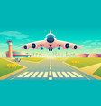 takeoff of plane on landing strip vector image vector image