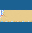 top view of exotic empty sandy beach with sea wave vector image