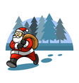 Walking Santa And Pine Tree Background vector image