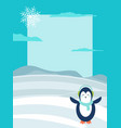 winter theme bright postcard with happy penguin vector image