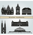 Wroclaw landmarks and monuments vector image vector image