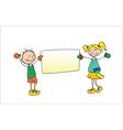 kids holding cartoon vector image
