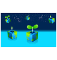 Potted Seedling plant and astrology sign in sky vector image