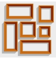 Empty Wooden Brown Picture Frames Isolated on the vector image
