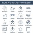 16 stop icons vector image vector image