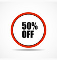 50 percent off sale label symbol in circle shape vector image vector image
