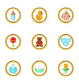 baby icon set cartoon style vector image vector image