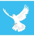 Beautiful white dove flying way up in a blue sky vector image