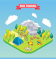 bike touring isometric concept travel and camping vector image vector image