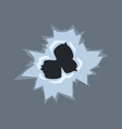 bullet holes on glass on vector image