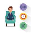 business man practicing yoga in the sofa vector image vector image