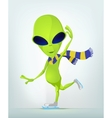Cartoon Alien Ice Skating vector image vector image