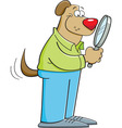 Cartoon dog looking through a magnifying glass vector image vector image