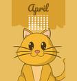 cat cute calendar cartoon vector image