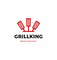 chef kitchen grill king spatula fork logo icon vector image