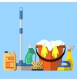 Cleaning set MOP sponge blue plastic bucket vector image