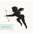 Cupid silhouette icon with bow and arrow vector image