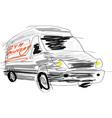 Delivery van sketch vector image vector image