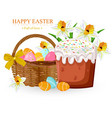 easter holiday card with eggs and sweet bread vector image