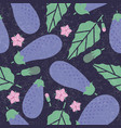 eggplant seamless pattern leaves flowers vector image vector image