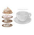 empty round cup and different versions fillings vector image