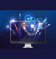 firework online light on screen realistic vector image vector image