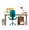 flat working place vector image vector image