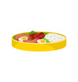 food in lunch box on white background vector image vector image