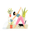 funny character doing yoga fitness and watering vector image vector image